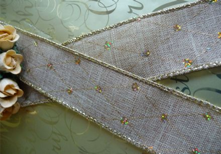 Luxury wire edge hessian ribbon with diamond pattern diamante effect 38mm for weddings, cakes, hampers etc